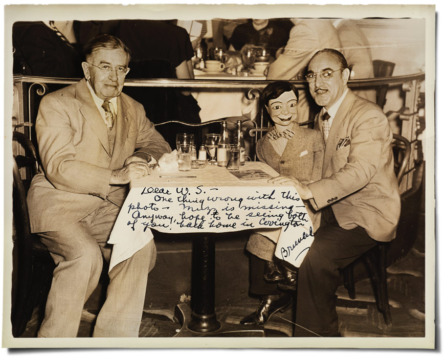 Vent Haven Museum founder W.S. Berger, left, dines with ventriloquist Dick Bruno and his figure,Joe Flip, at The Wivel restaurant in New York in the late 1940s.