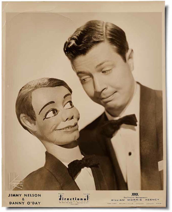 Ventriloquist Jimmy Nelson posed with his figure, Danny O'Day, for a promotional photograph around 1950.