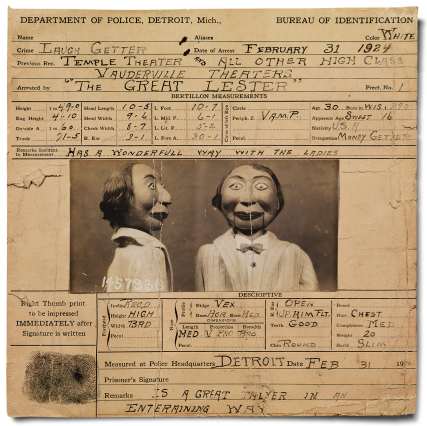 "This one-of-a-kind ""mug shot"" promotional card was created for an appearance by the Great Lester at the Temple Theater in Detroit, Michigan, in 1924."